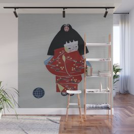 Girl in Red Kimono Wall Mural