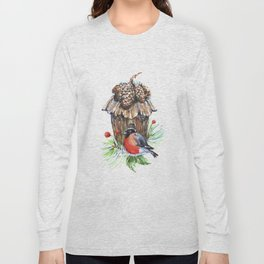 Bullfinch in the background of a cozy bird house. Long Sleeve T-shirt