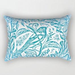 Songbird In Magnolia Wreath, Blue Linocut Rectangular Pillow
