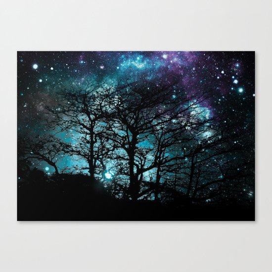 Black Trees Teal Violet space Canvas Print