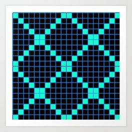 Black and Aqua Grid Crosstile Art Print