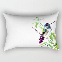 Hummingbird and Green Foliage, tropical green design Rectangular Pillow