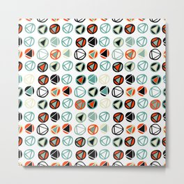 Abstract hand painted red green ivory geometrical pattern Metal Print