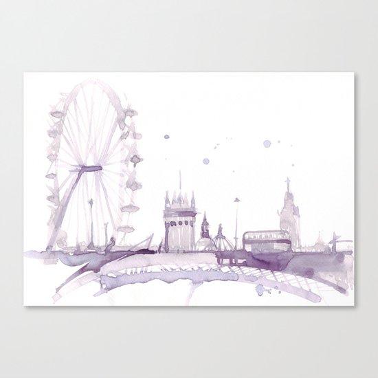 Watercolor landscape illustration_London Eye Canvas Print