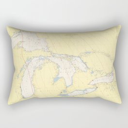 Vintage Map of The Great Lakes (1966) Rectangular Pillow