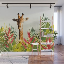 Giraffe in jungle leaves with Heliconias Wall Mural
