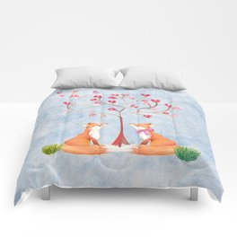 Fox love- foxes animal nature _ Watercolor illustration Comforters