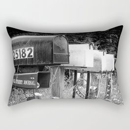 Black and white row of old road country us mailboxes Rectangular Pillow