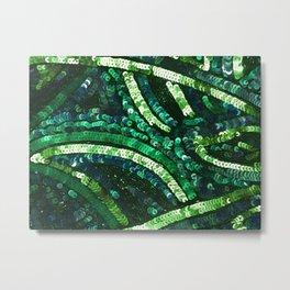 Green Art Deco Sequins Metal Print