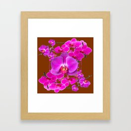 Coffee Brown Color Abstracted Modern Purple Moth Orchids Framed Art Print