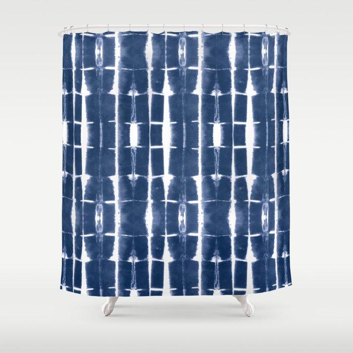 Shibori Stripes 3 Indigo Blue Shower Curtain