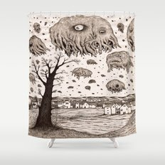They came from the sky Shower Curtain