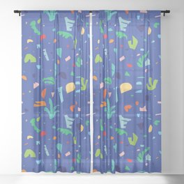 Shapes of Tropicalia / Colorful Abstraction Sheer Curtain