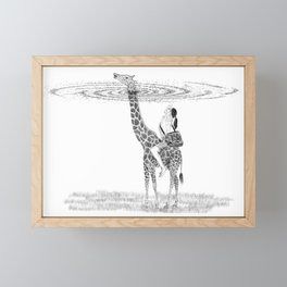 Illustration of a girl riding on a giraffe and looking up at the sky Framed Mini Art Print