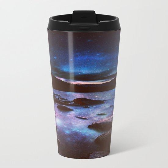 Magical Mountain Lake Deep Cool Tone Metal Travel Mug