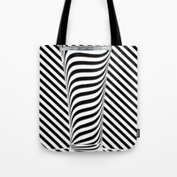 striped Tote Bags featuring Striped Water by Steve Purnell