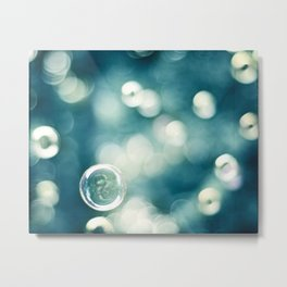 Bubble Photography, Teal Bathroom Art, Turquoise Aqua Laundry Photo Metal Print