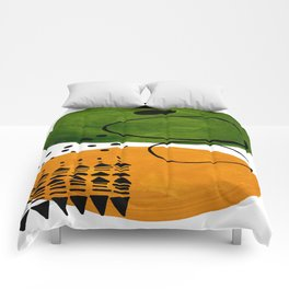 Modern Mid Century Fun Colorful Abstract Minimalist Painting Olive Green Yellow Ochre Buns Comforters