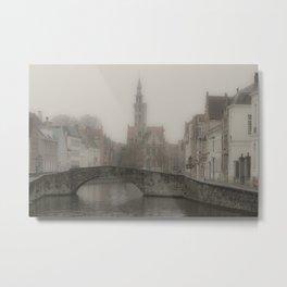 Misty Bridge of Bruges Metal Print
