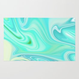 BLUE AND GREEN LIQUID MARBLING Rug