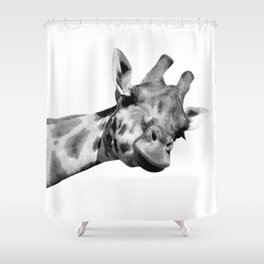 Black And White Giraffe Shower Curtain
