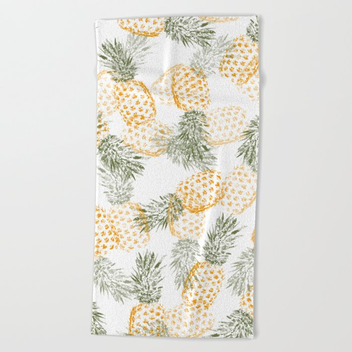 Pineapple mess Beach Towel