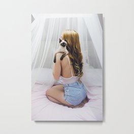 Woman and kitty Metal Print
