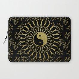 Mandala Yin Yang Gold Spiritual Zen Bohemian Hippie Yoga Mantra Meditation Laptop Sleeve