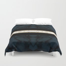 Midnight Blue Marble with Gold Glitter Ribbon Duvet Cover