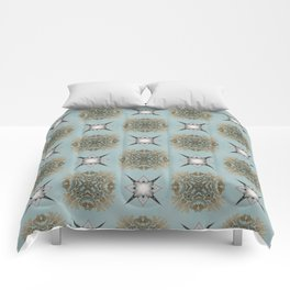 Soft Teal Blue & Gold No. 2 Comforters