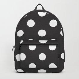 XX Large White on Dark Grey Polka Dots Backpack