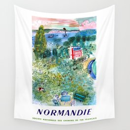 1952 Normandie France Railway Travel Poster Wall Tapestry