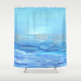 Lights Ahead - Ocean of Silver & Blue Shower Curtain
