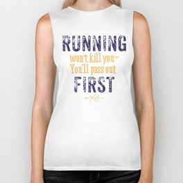 Purple & Gold Running Won't Kill You (Cross Country) Biker Tank