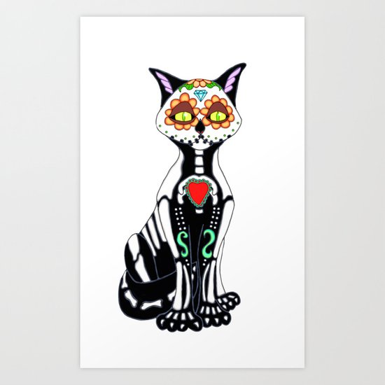 Sugar Skull Kitty Cat Art Print