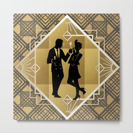 Black and Gold Roaring Twenties Silhouette Couple Metal Print