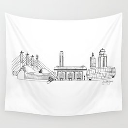 Kansas City Skyline Illustration Black Line Art Wall Tapestry
