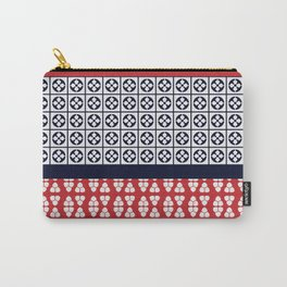 Japanese Style Ethnic Quilt Blue and Red Carry-All Pouch
