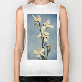 White Delphinium of Remembrance Biker Tank