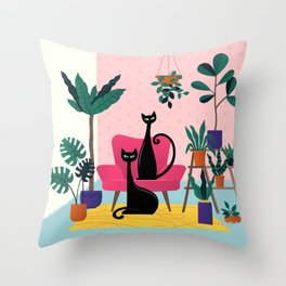 Sleek Black Cats Rule In This Urban Jungle Throw Pillow