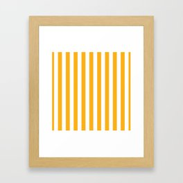 Beer Yellow and White Vertical Beach Hut Stripes Framed Art Print
