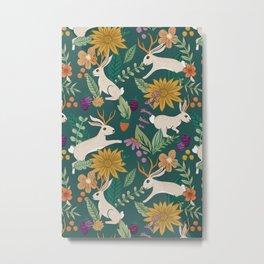 Floral Jackalopes Metal Print