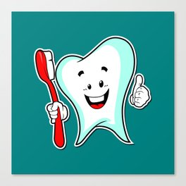 Dental Care happy Tooth with Toothbush Canvas Print