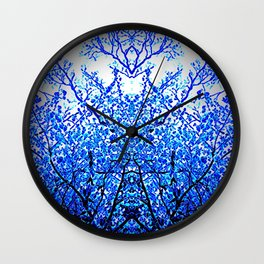 Blue crystal tree Wall Clock