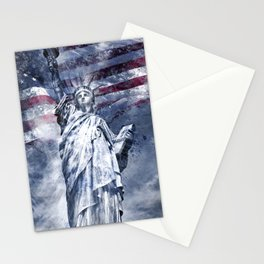 Modern-Art STATUE OF LIBERTY blue Stationery Cards