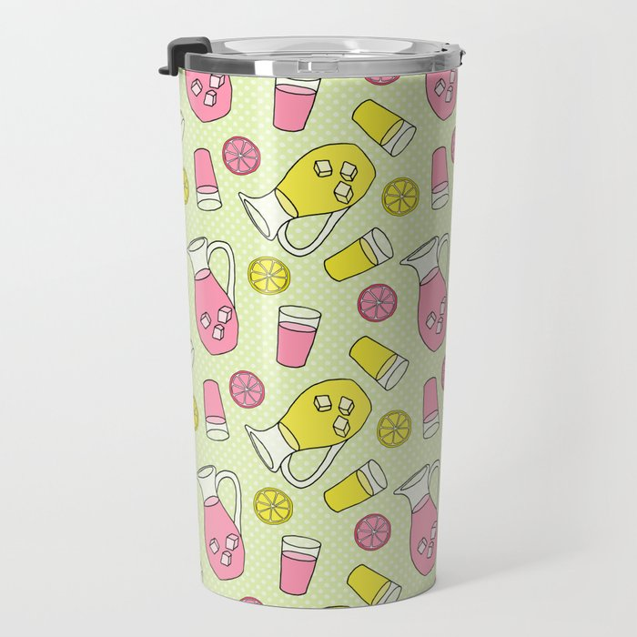 Summer Doodle - Pink and Yellow Lemonade Pattern Travel Mug