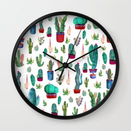 Watercolor Cactus Pattern Wall Clock