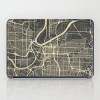 kansas city iPad Cases featuring Kansas City map by Map Map Maps