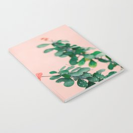 Floral photography print | Green on coral | Botanical photo art Notebook