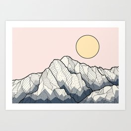 The sun and mountain Art Print